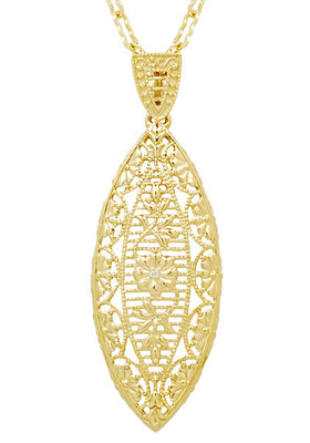 Art Deco Yellow Gold Vermeil Dangling Leaf Diamond Filigree Pendant Necklace