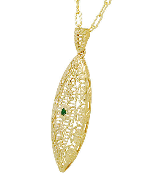 Art Deco Leaf Filigree Emerald Necklace in Yellow Gold Vermeil Over Sterling Silver - Item: N171YE - Image: 1