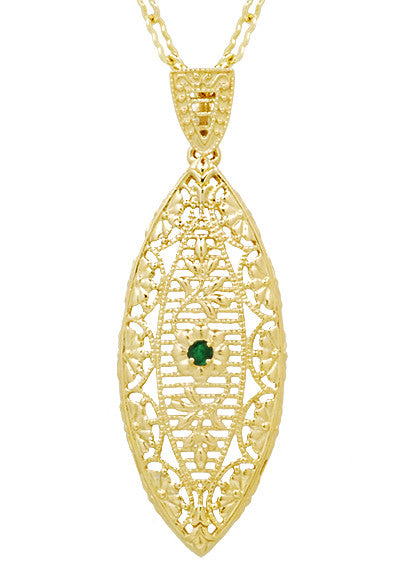 Art Deco Leaf Filigree Emerald Necklace in Yellow Gold Vermeil Over Sterling Silver