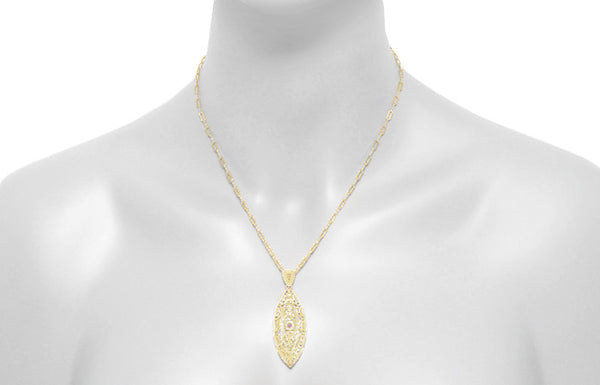 Art Deco Filigree Leaf Pink Sapphire Pendant Necklace in Yellow Gold Vermeil - Item: N171YPS - Image: 4