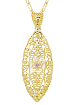 Art Deco Filigree Leaf Pink Sapphire Pendant Necklace in Yellow Gold Vermeil