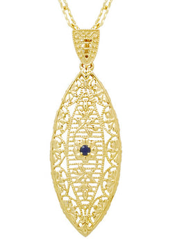 1920's Blue Sapphire Filigree Leaf Pendant Necklace in Yellow Gold Vermeil Over Sterling Silver