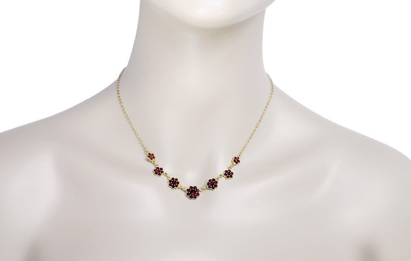 Victorian Bohemian Garnet Flowers Necklace in Sterling Silver with Yellow Gold Vermeil - Item: N178 - Image: 2