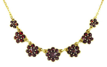 Victorian Bohemian Garnet Flowers Necklace in Sterling Silver with Yellow Gold Vermeil