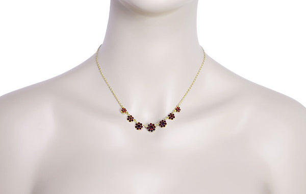 Victorian Flowers Bohemian Garnet Necklace in Yellow Gold Vermeil Over Sterling Silver - Item: N179 - Image: 2