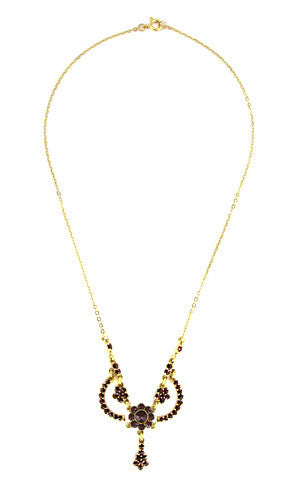 Victorian Bohemian Garnets Teardrop Necklace in Sterling Silver with Yellow Gold Vermeil - Item: N180 - Image: 1