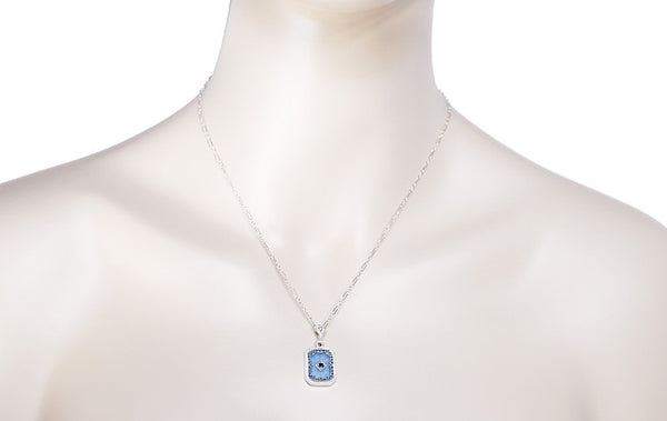 Art Deco Filigree Sky Blue Sun Ray Crystal Pendant Necklace with Sapphire and Diamond in Sterling Silver - Item: N185 - Image: 2