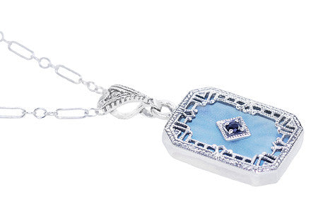 Art Deco Filigree Sky Blue Sun Ray Crystal Pendant Necklace with Sapphire and Diamond in Sterling Silver - Item: N185 - Image: 1