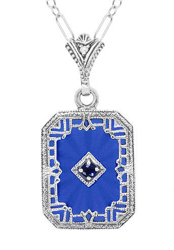 Art Deco Filigree Royal Blue Sun Ray Crystal Pendant Necklace with Sapphire and Diamond in Sterling Silver