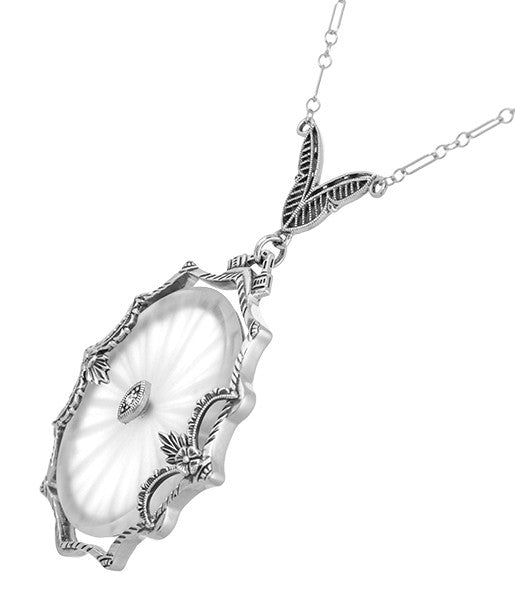 1920's  Filigree Oval Camphor Glass Sunray Crystal and Diamond Necklace in Sterling Silver - Item: N186 - Image: 1