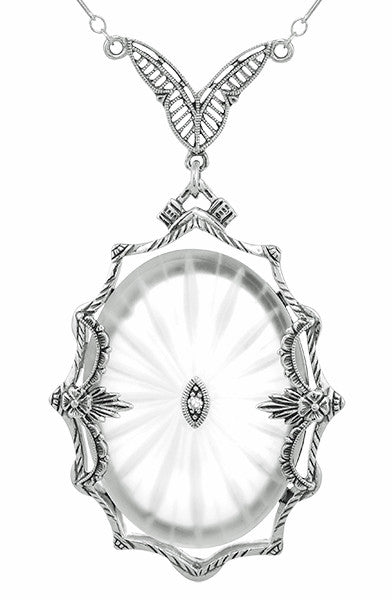 1920's  Filigree Oval Camphor Glass Sunray Crystal and Diamond Necklace in Sterling Silver