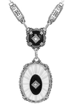 1920's Filigree Art Deco Lavalier Drop Necklace with Sun Ray Camphor Crystal, Black Onyx and Diamonds in Sterling Silver | Antique Replica