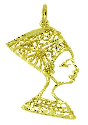 Nefertiti Filigree Charm in 14 Karat Gold