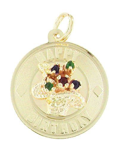 Happy Birthday Flowers Charm Medallion in 14 Karat Gold