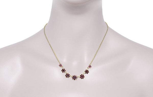 Victorian Bohemian Garnet Floral Necklace in Yellow Gold Vermeil Over Sterling Silver - Item: N113 - Image: 2