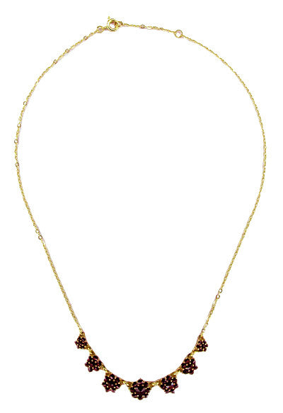Victorian Bohemian Garnet Floral Necklace in Yellow Gold Vermeil Over Sterling Silver - Item: N113 - Image: 1