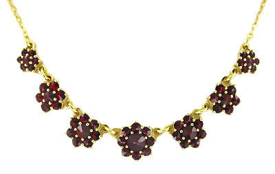 Victorian Bohemian Garnet Floral Necklace in Yellow Gold Vermeil Over Sterling Silver