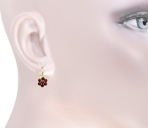 Small Bohemian Garnet Victorian Drop Earrings in 14 Karat Yellow Gold and Sterling Silver Vermeil - Item: E130 - Image: 2