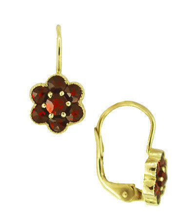 Small Bohemian Garnet Victorian Drop Earrings in 14 Karat Yellow Gold and Sterling Silver Vermeil - Item: E130 - Image: 1