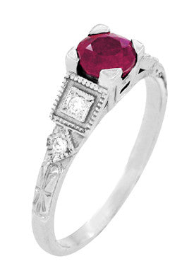 Ruby and Diamond Art Deco Engagement Ring in 18 Karat White Gold - Item: R207 - Image: 2