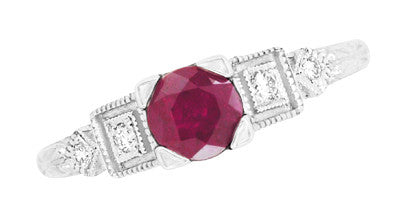 Ruby and Diamond Art Deco Engagement Ring in 18 Karat White Gold - Item: R207 - Image: 3