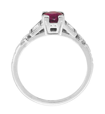 Ruby and Diamond Art Deco Engagement Ring in 18 Karat White Gold - Item: R207 - Image: 4