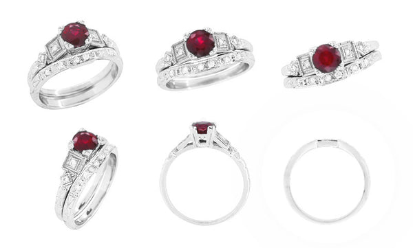 Ruby and Diamond Art Deco Engagement Ring in 18 Karat White Gold - Item: R207 - Image: 5