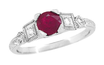 Ruby and Diamond Art Deco Engagement Ring in 18 Karat White Gold