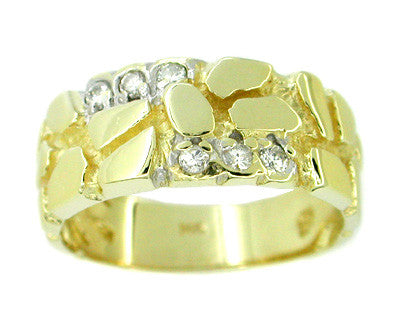 Nugget Diamond Set Band Vintage Ring in 14 Karat Gold