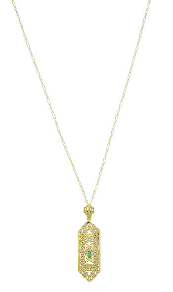 Art Deco Filigree Emerald Lavalier Pendant  Necklace in 14 Karat Yellow Gold - Item: NV208 - Image: 1