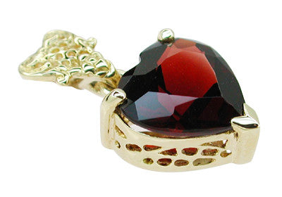 Pyrope Garnet Filigree Heart Pendant in 14 Karat Yellow Gold - Item: NV211G - Image: 1