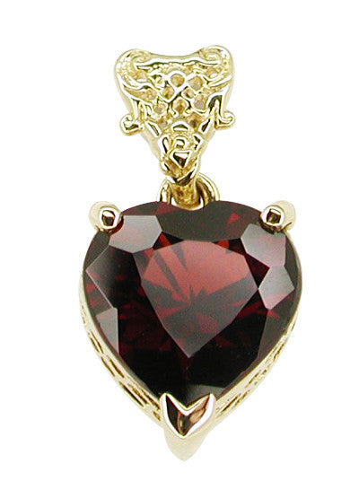 Pyrope Garnet Filigree Heart Pendant in 14 Karat Yellow Gold