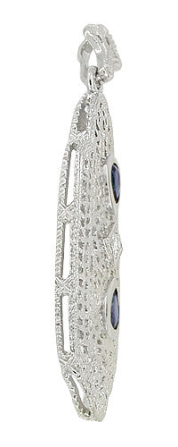 Art Deco Filigree Sapphire and Diamond Lavalier Pendant Necklace in 14 Karat White Gold - Item: NV231 - Image: 1