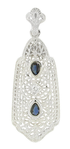 Art Deco Filigree Sapphire and Diamond Lavalier Pendant Necklace in 14 Karat White Gold