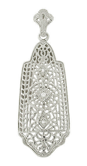 Art Deco Filigree Diamond Set Lavalier Pendant Necklace in 14 Karat White Gold
