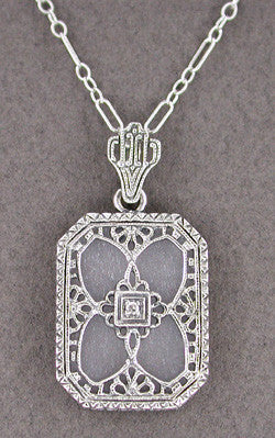 Art Deco Filigree Crystal and Diamond Set Rectangular Pendant Necklace in 14 Karat White Gold