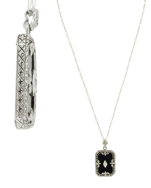 Art Deco Filigree Onyx Pendant Necklace with Diamond in 14 Karat White Gold - Item: NV41 - Image: 1