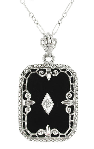 Art Deco Filigree Onyx Pendant Necklace with Diamond in 14 Karat White Gold