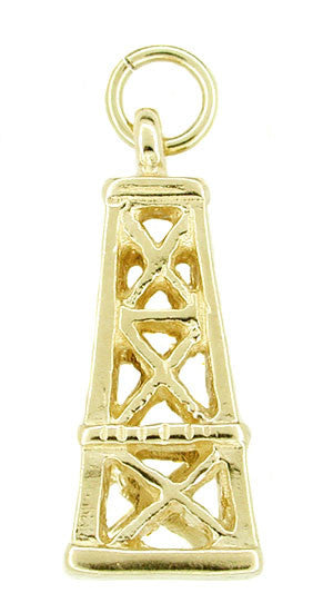 Oil Well Derrick Charm in 14 Karat Gold
