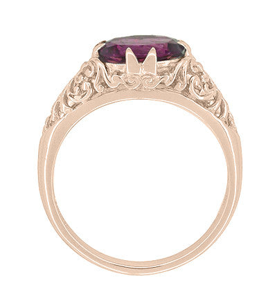 Edwardian Filigree 14 Karat Rose Gold East West Oval Rhodolite Garnet Engagement Ring - Item: R799RRG - Image: 3
