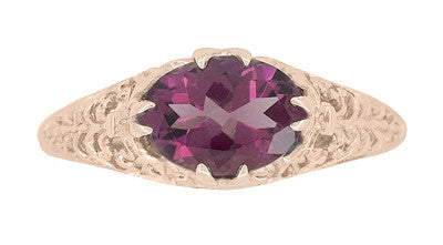 Edwardian Filigree 14 Karat Rose Gold East West Oval Rhodolite Garnet Engagement Ring - Item: R799RRG - Image: 4