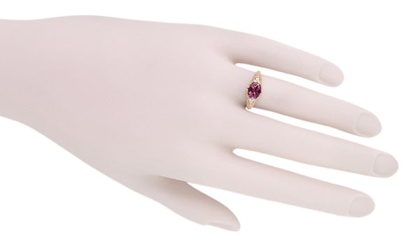 Edwardian Filigree 14 Karat Rose Gold East West Oval Rhodolite Garnet Engagement Ring - Item: R799RRG - Image: 5