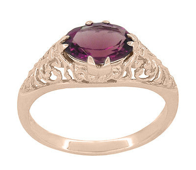 Edwardian Filigree 14 Karat Rose Gold East West Oval Rhodolite Garnet Engagement Ring - Item: R799RRG - Image: 1