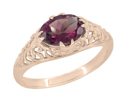 Edwardian Filigree 14 Karat Rose Gold East West Oval Rhodolite Garnet Engagement Ring