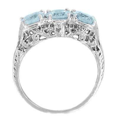 Edwardian Oval Trio Aquamarine Filigree Ring in 14 Karat White Gold - Item: R190 - Image: 1