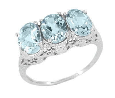 Edwardian Oval Trio Aquamarine Filigree Ring in 14 Karat White Gold