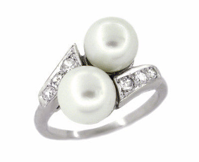 1950's Retro Pearl and Diamond Vintage Bypass Ring in 14 Karat White Gold