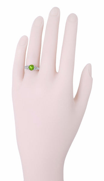 Art Deco Filigree Engraved Peridot Promise Ring in Sterling Silver - Item: SSR8 - Image: 2