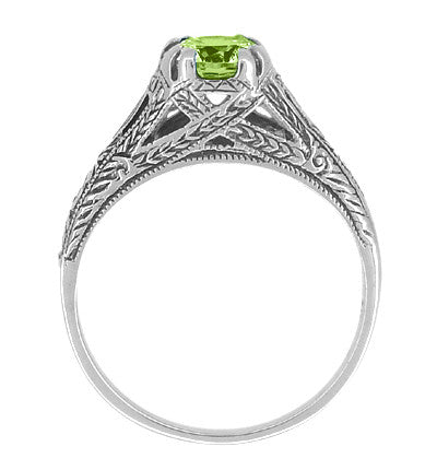 Art Deco Filigree Engraved Peridot Promise Ring in Sterling Silver - Item: SSR8 - Image: 1