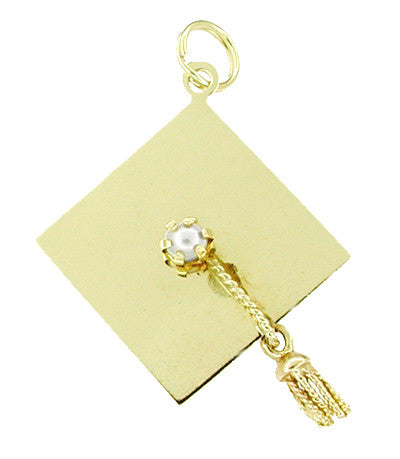 Pearl Set Graduation Cap Pendant Charm with Movable Tassel in 14 Karat Gold